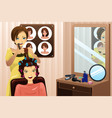 hairstylist working in a salon vector image