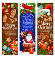 happy winter christmas holidays banners vector image vector image