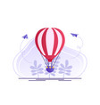hot air balloon with red and white stripes summer vector image vector image