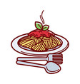 hot spaghetti with fresh tomato sauce on plate vector image vector image