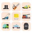 industrial equipment and special machine icons set vector image