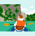 kayaking at beautiful and exotic river boy in vector image vector image