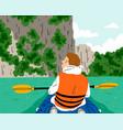 kayaking at beautiful and exotic river boy vector image