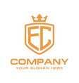 letter ec initial with shield and crown vector image vector image