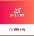letters g and k or gk line logo design linear vector image vector image
