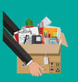 moving to new office cardboard box in hand vector image vector image