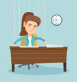 office worker hanging on strings like marionette vector image vector image