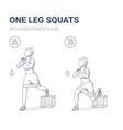 one leg squats with resistance band female home vector image vector image
