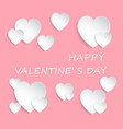 paper cut white hearts on pink vector image vector image