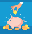 piggy bank money box with falling gold coins vector image