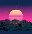 retro vaporwave background future landscape 80s vector image vector image