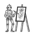 robot artist painter sketch engraving vector image vector image