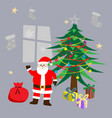 santa clause standing beside christmas tree vector image