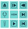 set of 9 audio icons includes skip song extract vector image vector image