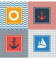 Set of cards with nautical symbols in flat design vector image vector image
