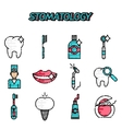 Stomatology flat icons set vector image