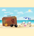 suitcase and sun glasses on sea beach vector image vector image