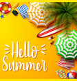summer holidays background in the yellow beach vector image vector image