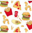 tasty fast food pattern with chips burger pizza vector image