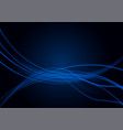 transparent wavy blue lines on black background vector image vector image
