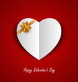 Valentine card with paper hearts and ribbon vector image vector image