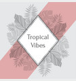 vintage tropical label with palm leaves for vector image