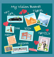 vision board collage with dreams and goals vector image vector image