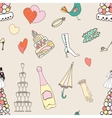 Wedding seamless pattern with cute hand drawn vector image vector image