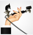 womans hand with retro black phone vector image vector image