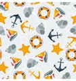 Nautical seamless pattern in flat design style vector image