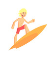 blond cheerful kid drive on surfboard on the wave vector image