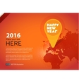 New year icon in world map background vector image