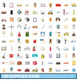 100 supplies icons set cartoon style vector image vector image