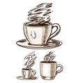 a cup coffee in vintage style hand drawn vector image vector image