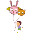 A young boy holding two balloons vector image vector image