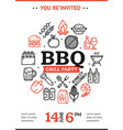 bbq party invitation round design template with vector image vector image