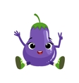 Big Eyed Cute Girly Eggplant Character Sitting vector image vector image
