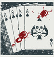 bloody deadman hand playing cards in retro vector image