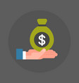 business man hand holding money sack with dollar vector image vector image