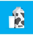 carton of milk and the in a glass vector image vector image
