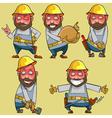 cartoon of a smiling worker in the helmet vector image vector image