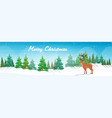 cartoon reindeer standing in winter forest cute vector image vector image