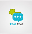 chat chef with bubble logo icon element and vector image vector image