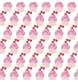 Cherry cupcakes pattern vector image vector image