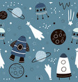 childish seamless pattern with hand drawn space vector image vector image