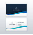 clean blue wave business card design template vector image vector image