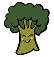 cute broccoli on white background vector image vector image