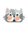 cute grey kitten head funny cartoon cat character vector image vector image