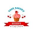 Dessert icon or emblem of cake or tart vector image