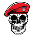detailed classic skull head wearing red military vector image vector image